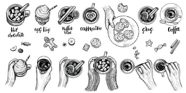 Hot drinks with holding hands top view, vector illustration. Set of hand drawn beverages. Hot drinks with holding hands top view, vector illustration. Winter or autumn cold season beverages: hot chocolate, coffe, mulled wime, egg nog, cappuccino, grog and cookies. Hygge style drawing. hot chocolate stock illustrations