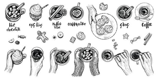 illustrazioni stock, clip art, cartoni animati e icone di tendenza di hot drinks with holding hands top view, vector illustration. set of hand drawn beverages. - christmas table