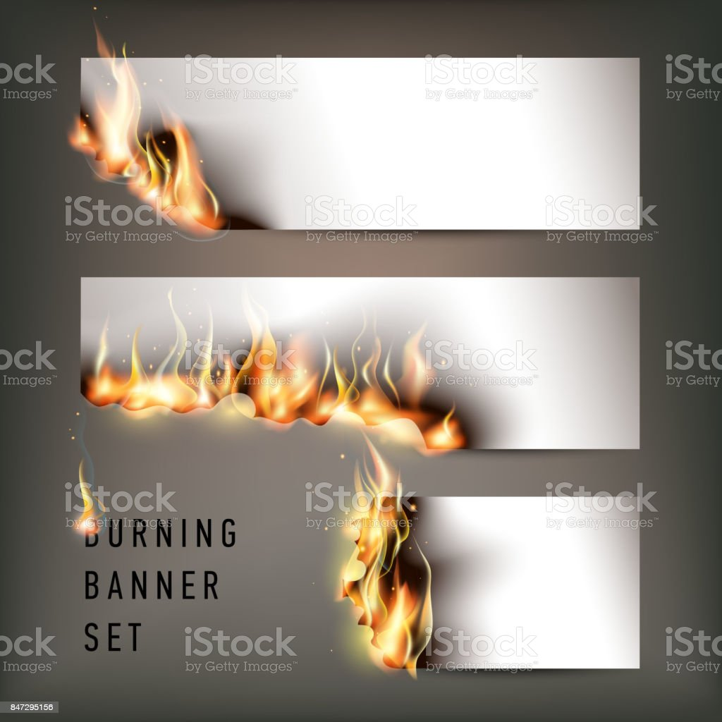 Hot fire banners set with orange flames for your design vector art illustration