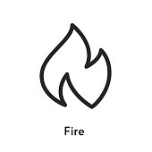 Hot Fire Flame Minimal Flat Line Outline Stroke Icon