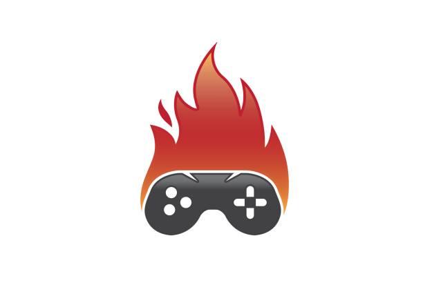 Hot Fire Game Controller Symbol Design Stock Vector Art More
