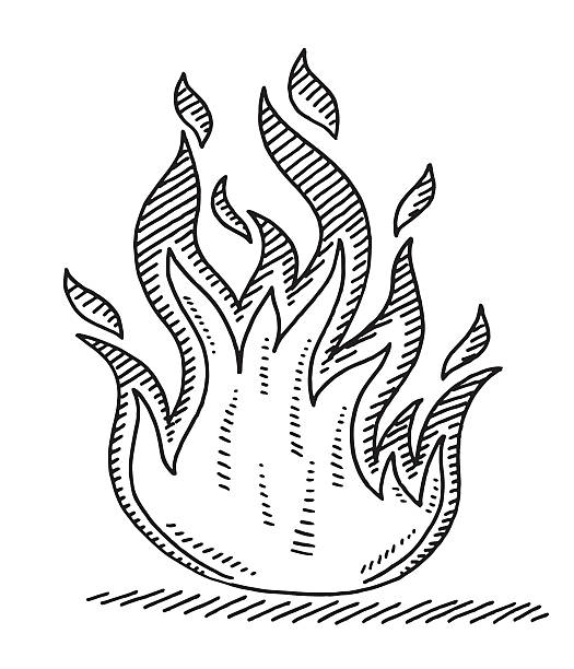 Hot Fire Symbol Drawing Hand-drawn vector drawing of a Hot Fire Symbol. Black-and-White sketch on a transparent background (.eps-file). Included files are EPS (v10) and Hi-Res JPG. environment stock illustrations