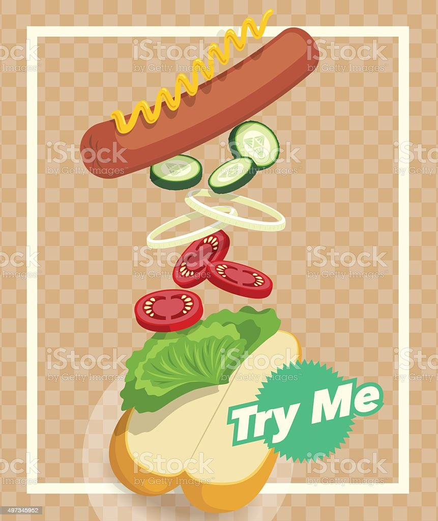 Hot & Fresh Hotdog vector art illustration