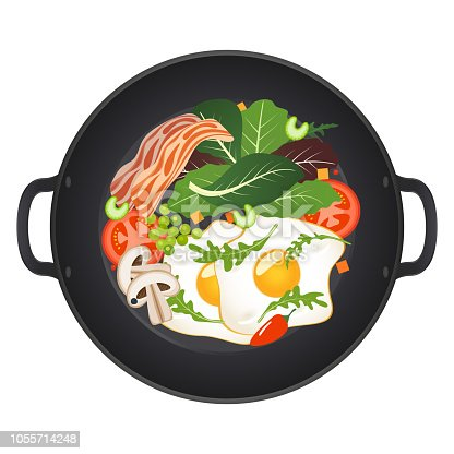 Hot frying pan with fried eggs, bacon, mushrooms, tomatoes and lettuce, top view. Isolated on white background. Vector illustration