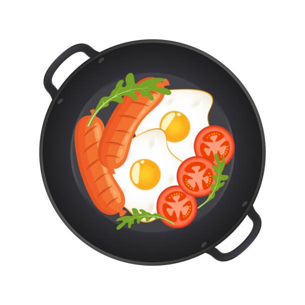 bildbanksillustrationer, clip art samt tecknat material och ikoner med varm stekpanna med stekt ägg, korv, champinjoner, tomater och sallad, ovanifrån. isolerade på vit bakgrund. vektorillustration. - frying pan