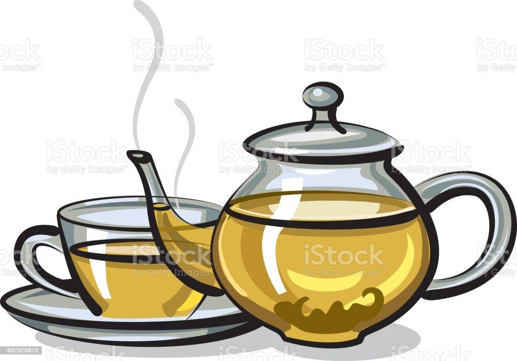 hot green tea vector art illustration