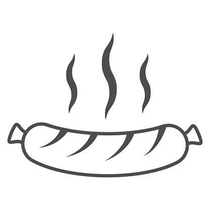 Hot grilled sausage thin line icon, Oktoberfest concept, Oktoberfest festival traditional food sign on white background, Sausage icon in outline style for mobile and web design. Vector graphics.