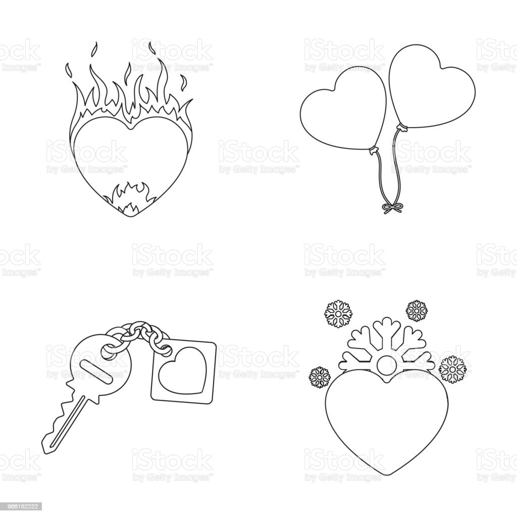 Hot heart, balloons, a key with a charm, a cold heart. Romantic set collection icons in outline style vector symbol stock illustration web. - Royalty-free Chain - Object stock vector