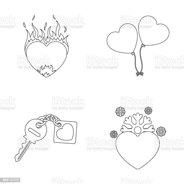 Varmt Hjärta Ballonger En Nyckel Med En Charm Ett Kallt Hjärta Romantik Som Samling Ikoner I Disposition Stil Vektor Symbol Stock Illustration Web-vektorgrafik och fler bilder på Flamma