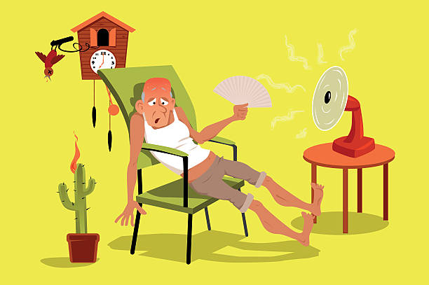 Hot house Mature man sitting in his house in a very hot summer day with a fan, EPS 8 vector illustration, no transparencies heat wave stock illustrations