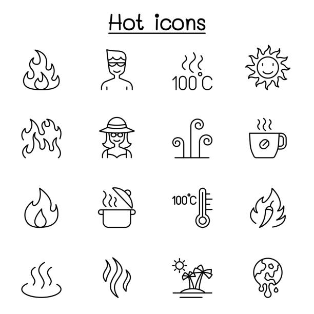 ilustrações de stock, clip art, desenhos animados e ícones de hot icon set in thin line style - burned cooking