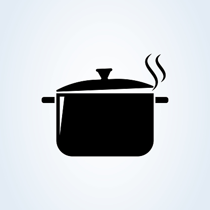 Hot meal. Pot and steam. Cooking symbol. Vector illustration