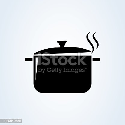 istock Hot meal. Pot and steam. Cooking symbol. Vector illustration 1220540556