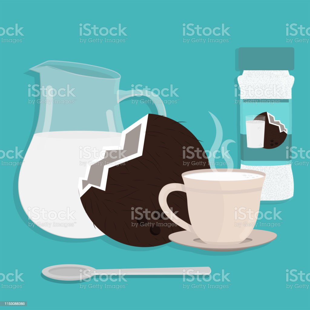 Jug of milk, cup of hot coconut milk and coconut powder packing....