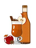 istock Hot Mulled Apple Cider Ale Or Punch Ready to Drink. Winter Warming Cocktail. Vector illustration of alchohol drink in flat style on white background 1292813237
