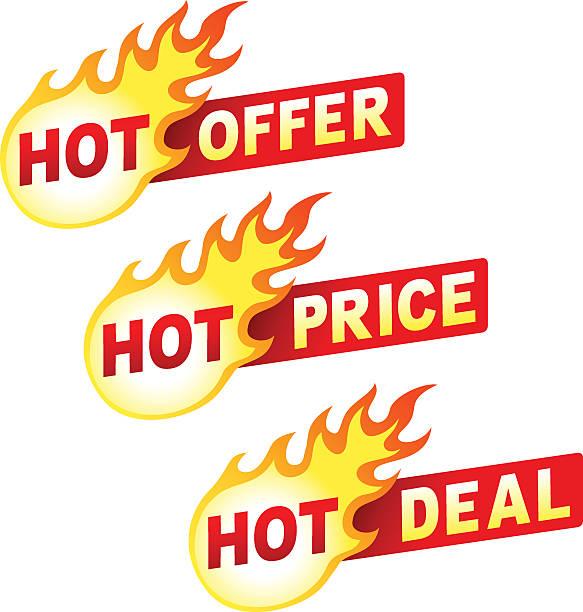 Heißes Angebot, Preis und Angebot Flamme badges sticker – Vektorgrafik