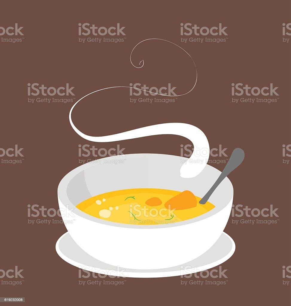 Hot organic carrot soup. vector art illustration