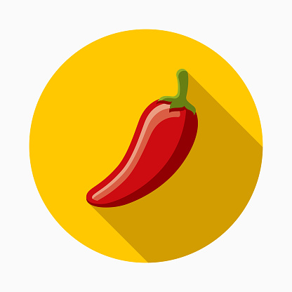 Hot Pepper Flat Design Mexico Icon with Side Shadow