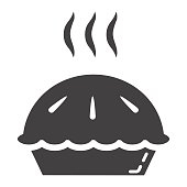 Hot pie glyph icon, food and drink, bakery sign vector graphics, a solid pattern on a white background, eps 10.