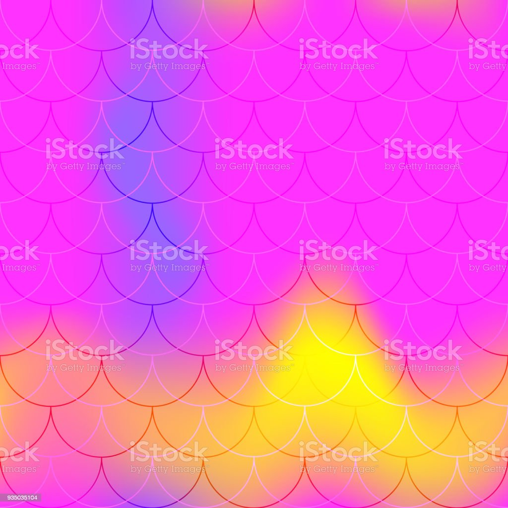 Hot pink mermaid scale vector background. Abstract iridescent background with fish scale pattern. vector art illustration