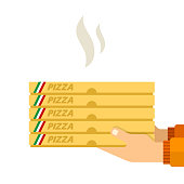 Hot pizza in the hands of a courier vector flat isolated