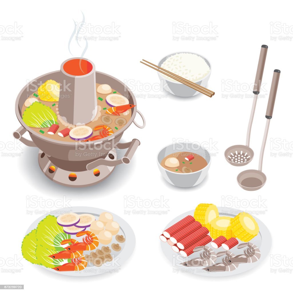 Hot Pot vector art illustration