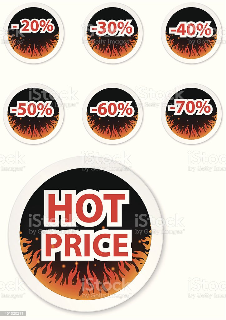 Hot price stickers. with fire flame royalty-free stock vector art
