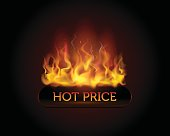 Realistic vector flame, hot price button