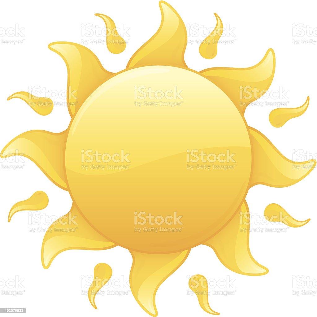 温かい光輝くイエローの夏の太陽ベクトルイラスト イラストレーション