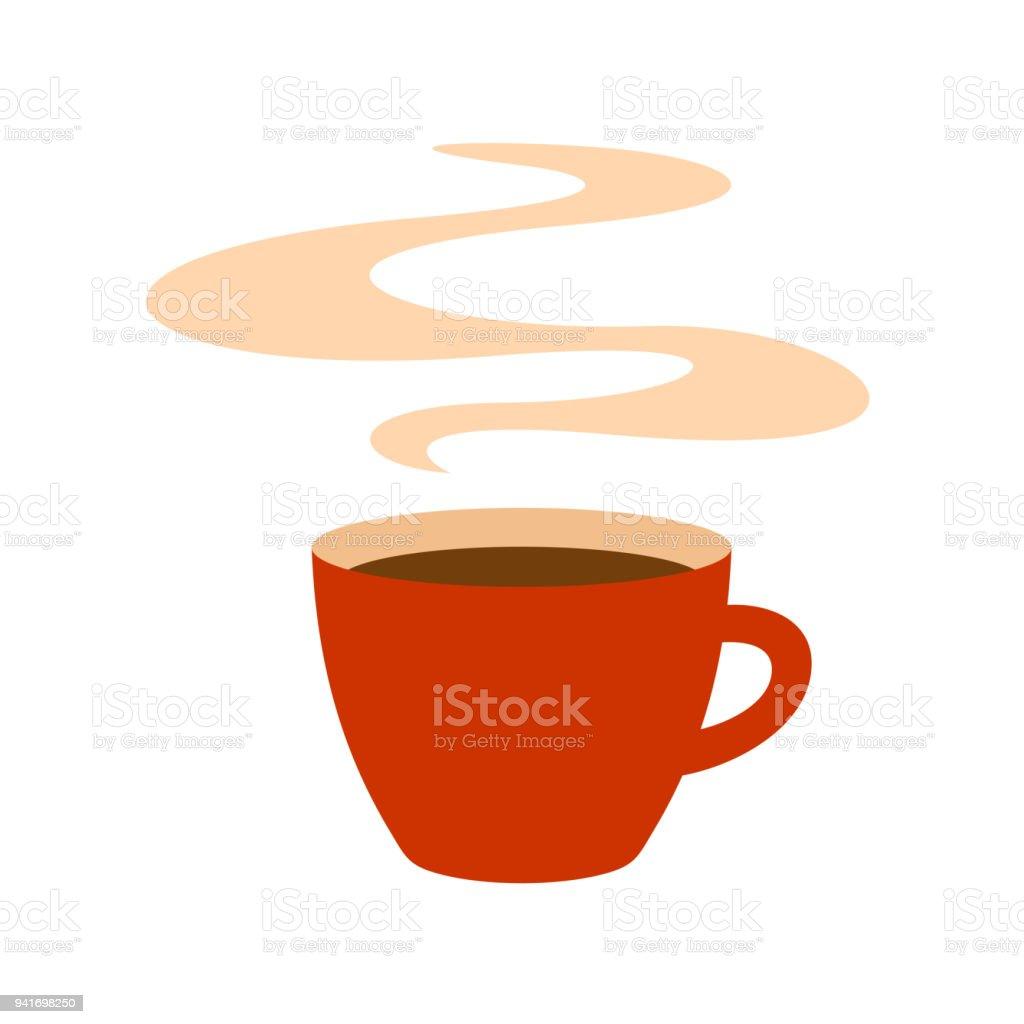 Heiße Rote Kaffeetasse Mit Dampf Illustration Stock Vektor Art und ...