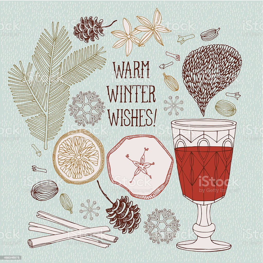 Hot red wine with christmas spices. royalty-free hot red wine with christmas spices stock vector art & more images of alcohol