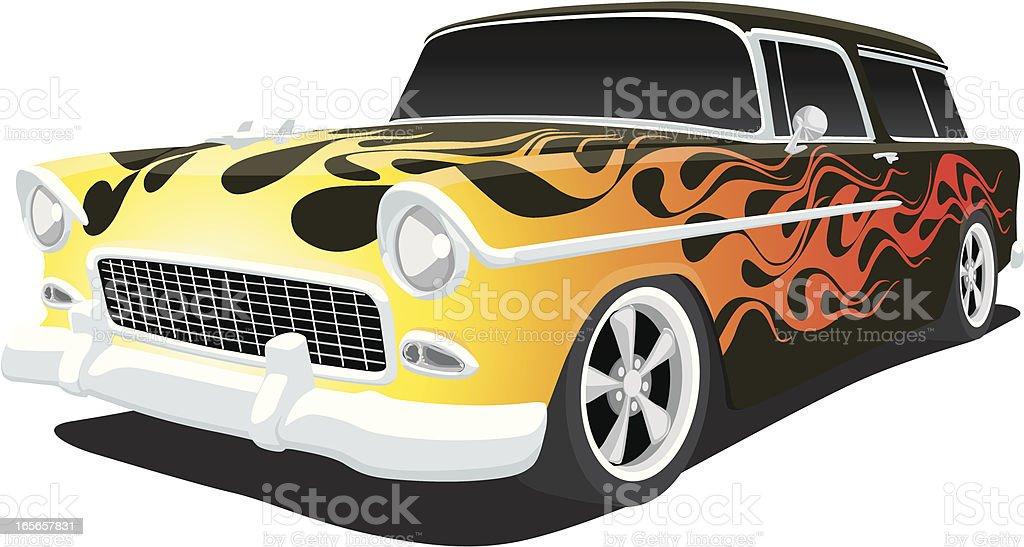 Hot Rod 1955 Chevy vector art illustration