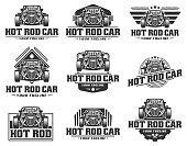 template of Hot Rod car, HotRod vector emblem, Vector Hot Rod car design, hotrod vector
