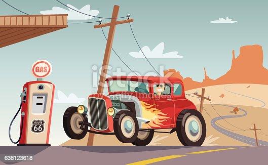 Hot rod car in Route 66 desert
