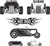 Hot rod car tamplates for icons and emblems isolated