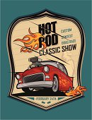 Hot rod classic car and flying eagle poster