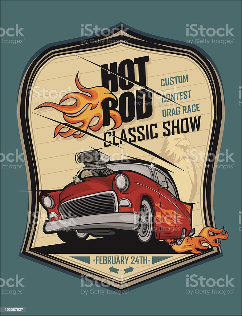 Hot rod classic car and flying eagle poster vector art illustration