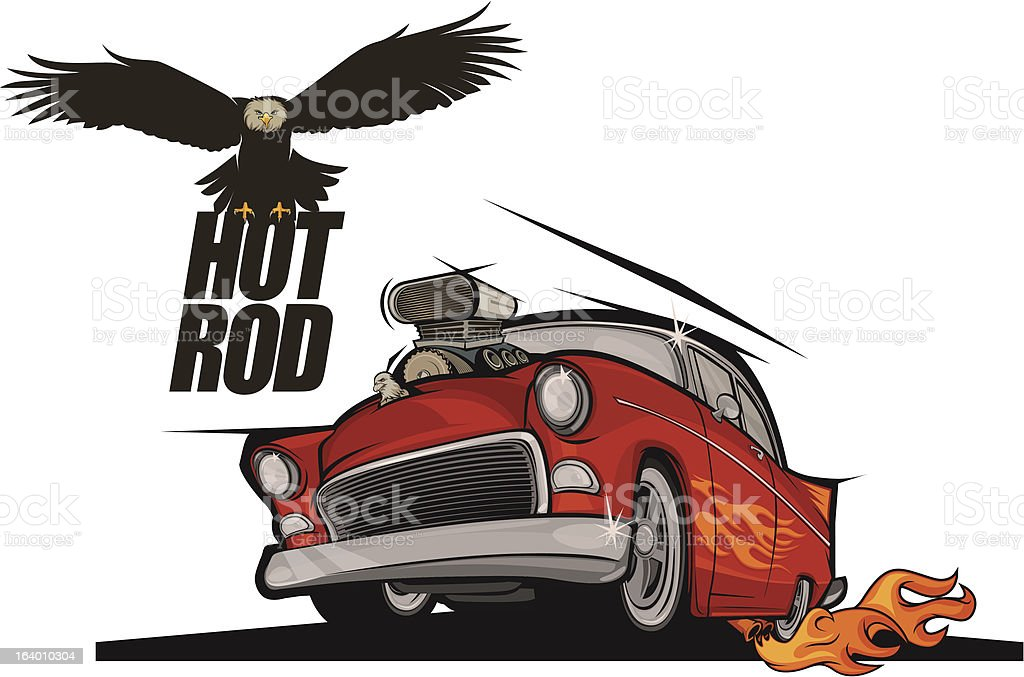 Hot rod classic car and flying eagle royalty-free stock vector art