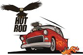 Hot rod classic car and flying eagle