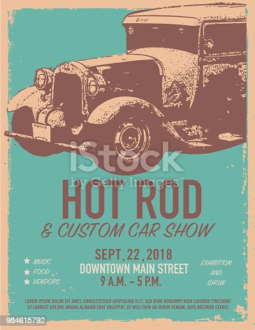 Vector illustration of a Hot Rod Classic car show and exhibition advertisement poster design template