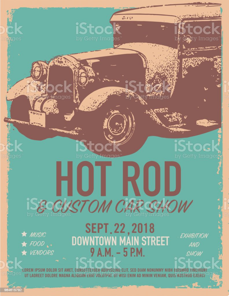 Hot Rod Classic car show and exhibition advertisement poster design template vector art illustration