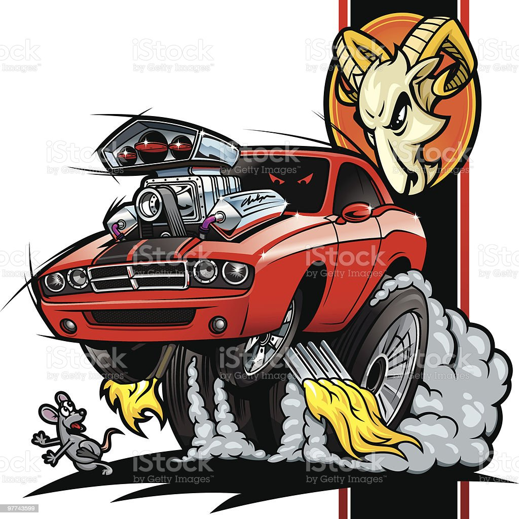 Hot Rod Dodge Challenger vector art illustration
