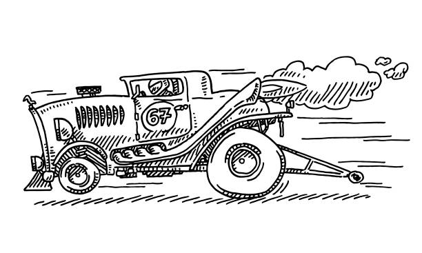 Hot Rod Dragster Racecar Drawing Hand-drawn vector drawing of a Hot Rod Dragster Racecar. Black-and-White sketch on a transparent background (.eps-file). Included files are EPS (v10) and Hi-Res JPG. motor sport stock illustrations
