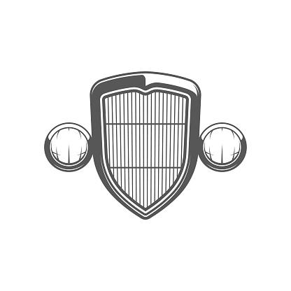Hot rod grill emblem. Isolated on white background.