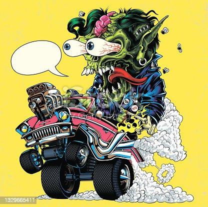 istock Hot Rod monster illustration 1329665411