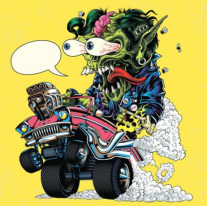 Hot Rod monster illustration