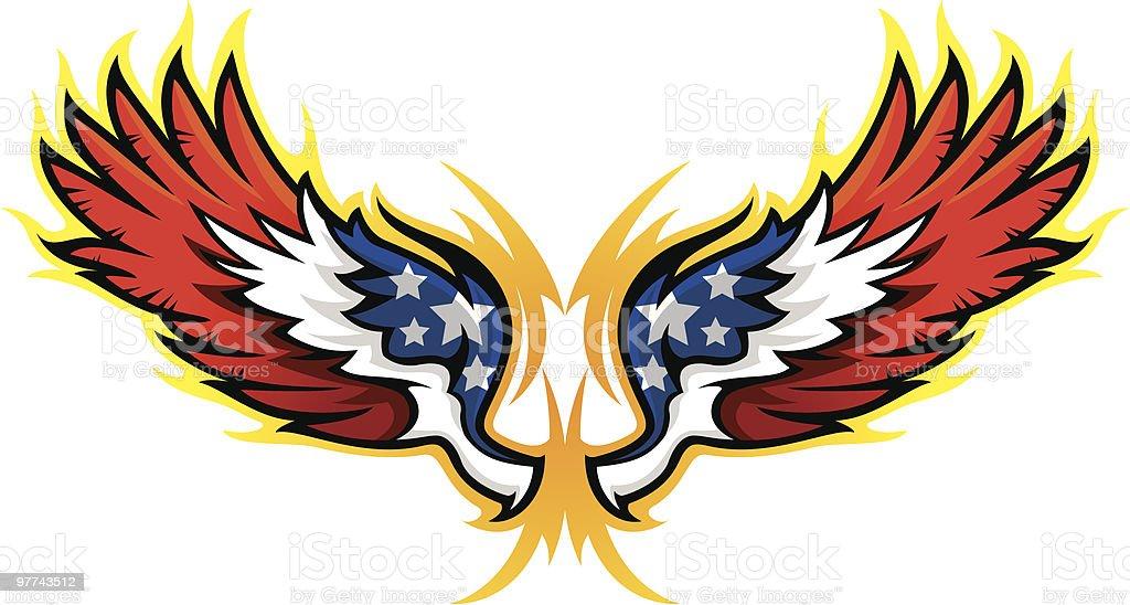 Hot Rod Wings, American Flag vector art illustration