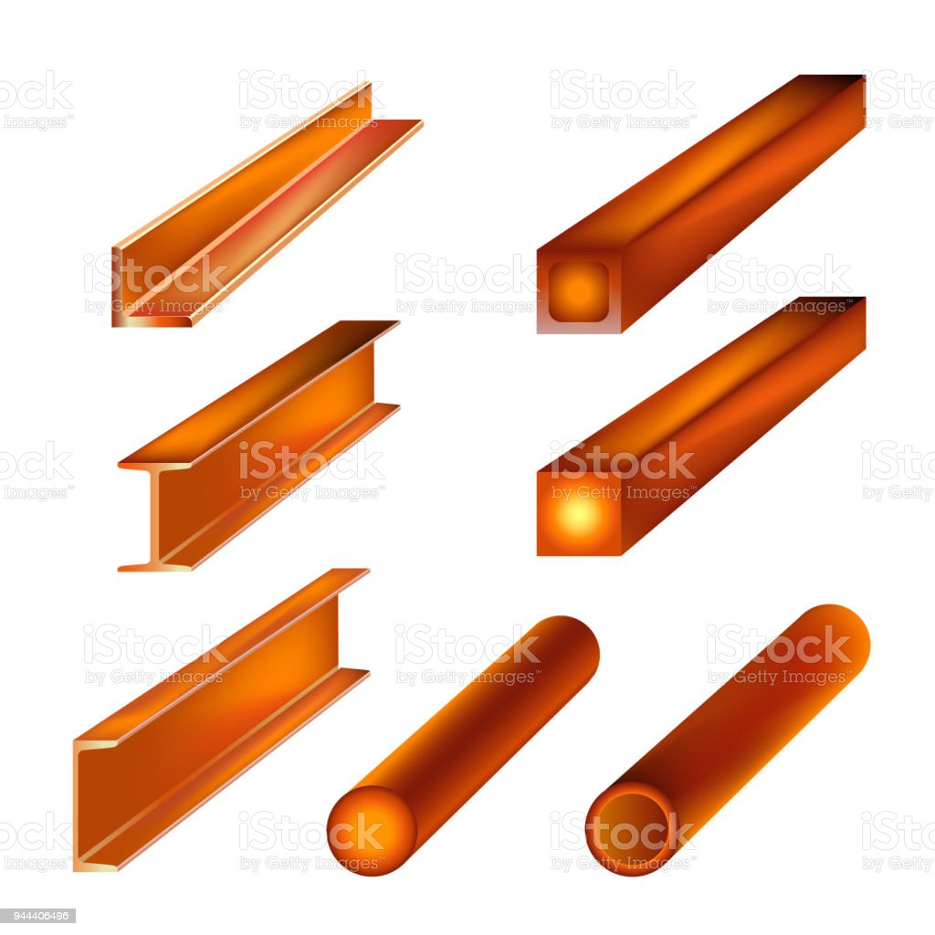 Hot rolled metal products vector art illustration