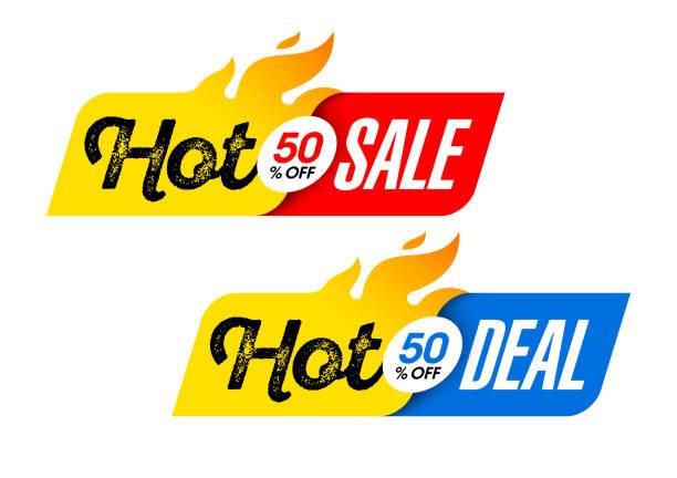 illustrations, cliparts, dessins animés et icônes de bannières de vente et hot deal chauds - chaleur