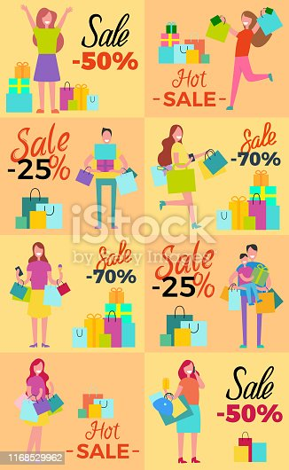 Hot sale collection of posters with excited shopaholics isolated on light orange. Vector illustration of smiling men and women doing shopping